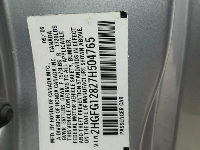 2HGFG12827H504765 - 2007 HONDA CIVIC EX SILVER photo 10