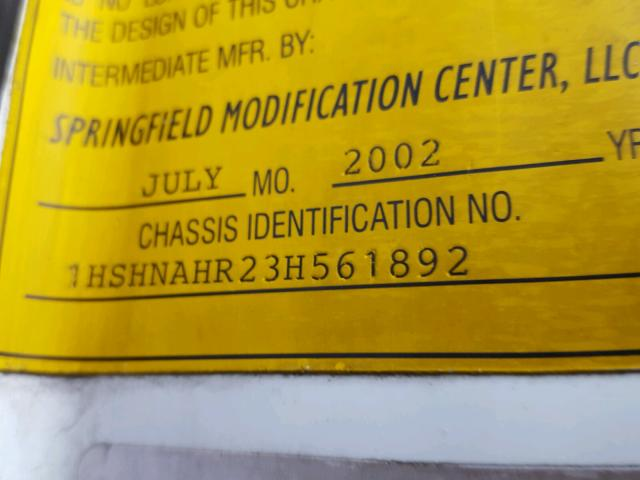 1HSHNAHR23H561892 - 2003 INTERNATIONAL 8000 8100 WHITE photo 10