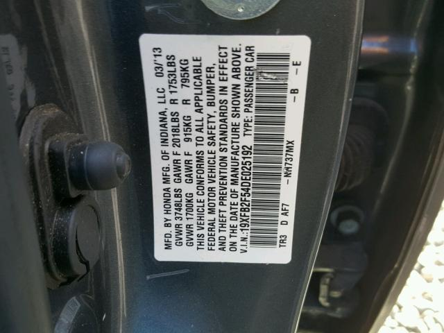 19XFB2F54DE025192 - 2013 HONDA CIVIC LX GRAY photo 10