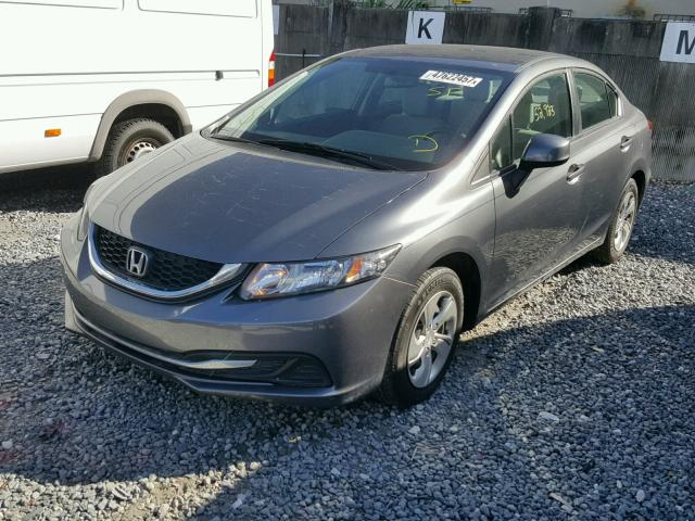 19XFB2F54DE025192 - 2013 HONDA CIVIC LX GRAY photo 2
