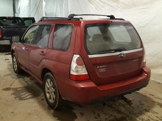 JF1SG65617H747922 - 2007 SUBARU FORESTER 2 RED photo 3
