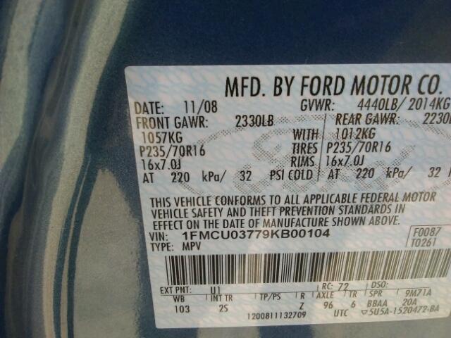 1FMCU03779KB00104 - 2009 FORD ESCAPE XLT BLUE photo 10