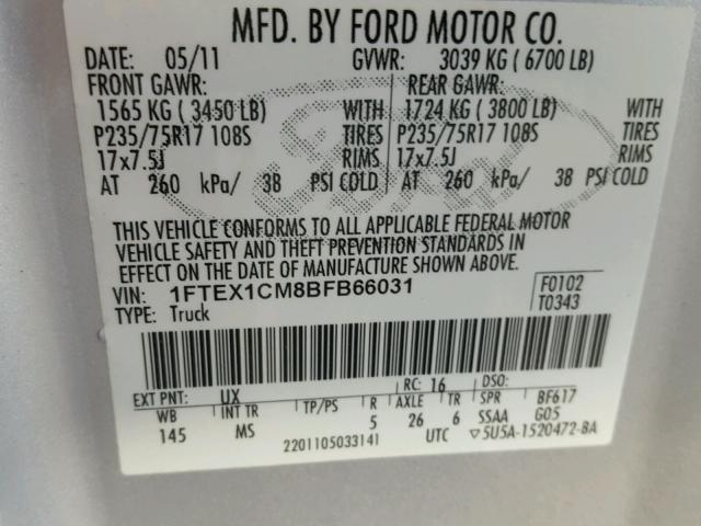 1FTEX1CM8BFB66031 - 2011 FORD F150 SUPER SILVER photo 10