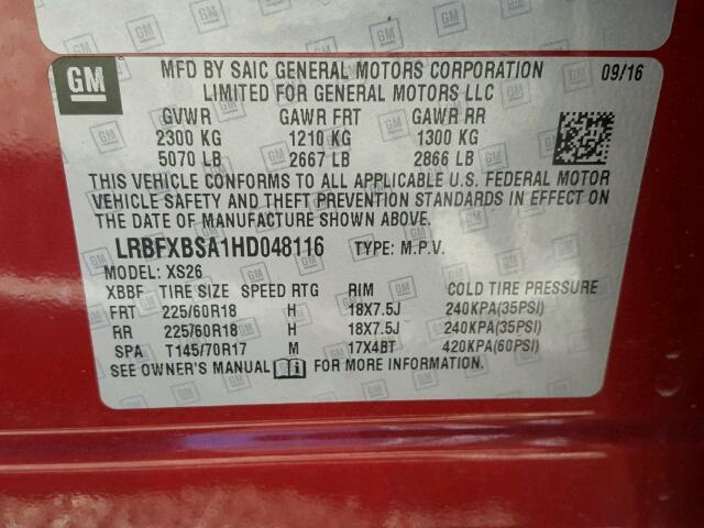 LRBFXBSA1HD048116 - 2017 BUICK ENVISION E RED photo 10