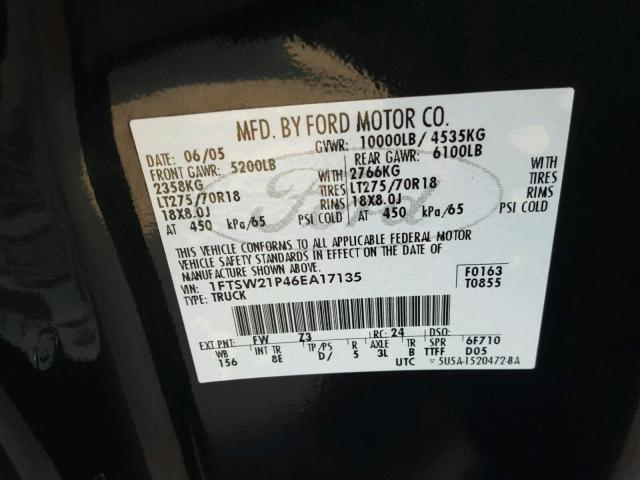1FTSW21P46EA17135 - 2006 FORD F250 SUPER BLACK photo 10