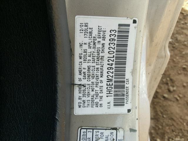 1HGEM22942L023933 - 2002 HONDA CIVIC EX SILVER photo 10