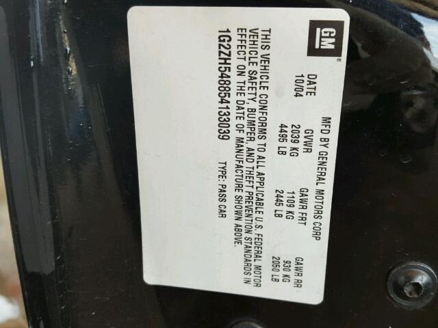 1G2ZH548854133039 - 2005 PONTIAC G6 GT BLACK photo 10