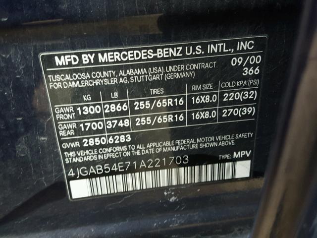 4JGAB54E71A221703 - 2001 MERCEDES-BENZ ML 320 BLUE photo 10