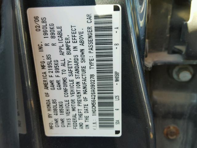 1HGCM56426A090278 - 2006 HONDA ACCORD LX BLUE photo 10