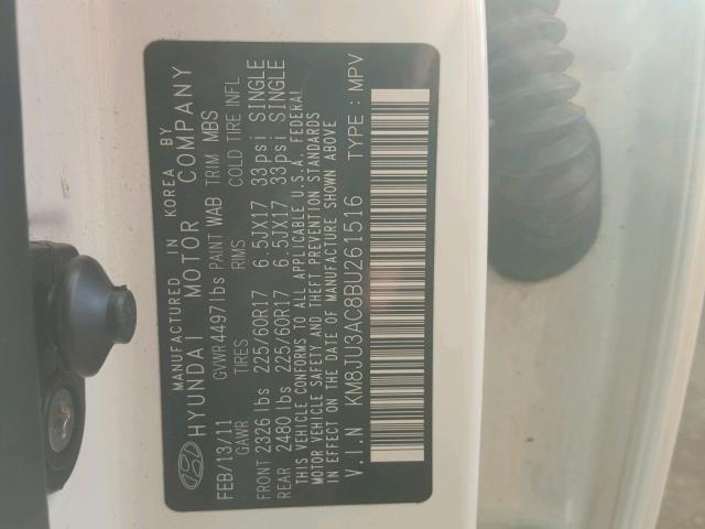 KM8JU3AC8BU261516 - 2011 HYUNDAI TUCSON GLS WHITE photo 10