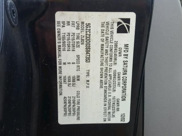 5GZCZ33D03S847353 - 2003 SATURN VUE BLACK photo 10