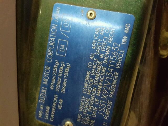 JS3TX92V134115632 - 2003 SUZUKI XL7 PLUS GREEN photo 10