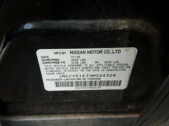 JNKCV51E73M024328 - 2003 INFINITI G35 BLACK photo 10