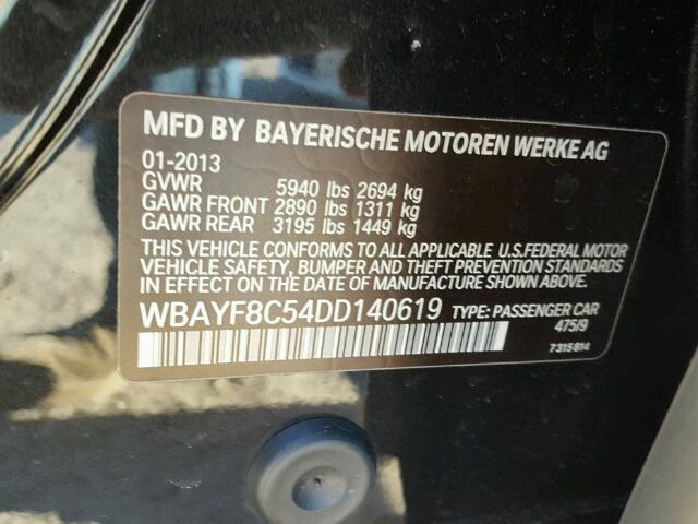 WBAYF8C54DD140619 - 2013 BMW 750LI XDRI BLACK photo 10