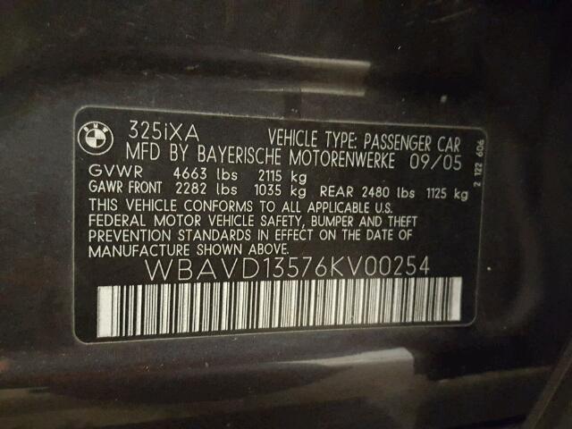 WBAVD13576KV00254 - 2006 BMW 325 XI GRAY photo 10