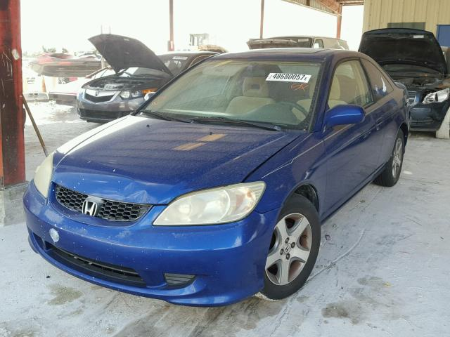 1HGEM22974L000262 - 2004 HONDA CIVIC EX BLUE photo 2