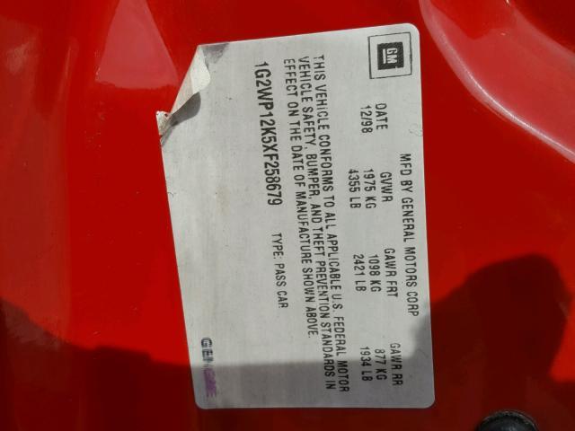 1G2WP12K5XF258679 - 1999 PONTIAC GRAND PRIX RED photo 10