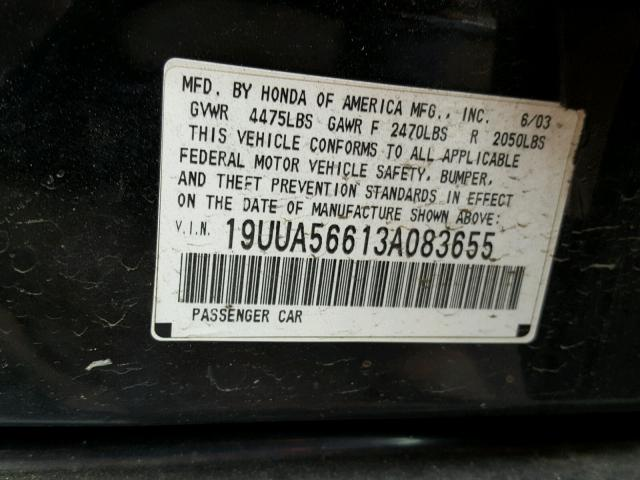 19UUA56613A083655 - 2003 ACURA 3.2TL BLACK photo 10