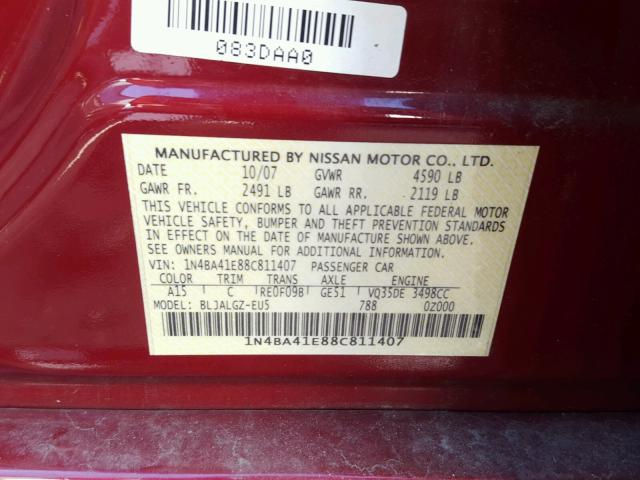 1N4BA41E88C811407 - 2008 NISSAN MAXIMA SE RED photo 10