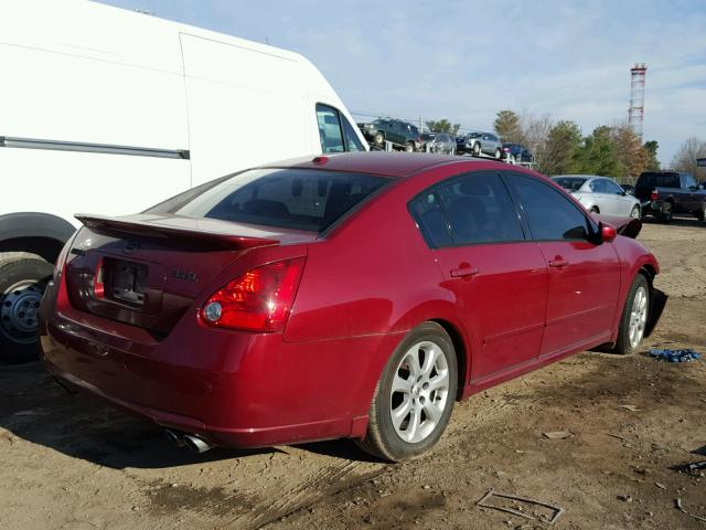 1N4BA41E88C811407 - 2008 NISSAN MAXIMA SE RED photo 4