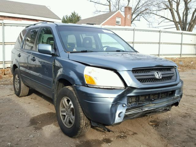 5FNYF18645B024827 - 2005 HONDA PILOT EXL BLUE photo 1