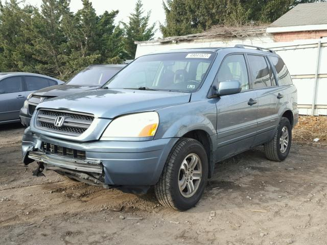 5FNYF18645B024827 - 2005 HONDA PILOT EXL BLUE photo 2