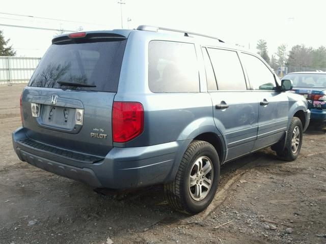 5FNYF18645B024827 - 2005 HONDA PILOT EXL BLUE photo 4