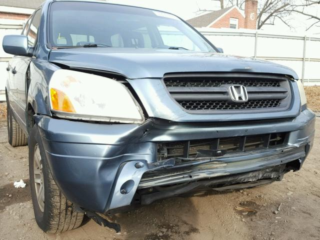 5FNYF18645B024827 - 2005 HONDA PILOT EXL BLUE photo 9