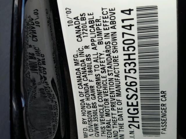 2HGES26753H507414 - 2003 HONDA CIVIC EX BLACK photo 10