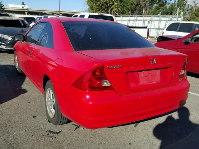 1HGEM21501L007659 - 2001 HONDA CIVIC LX RED photo 3
