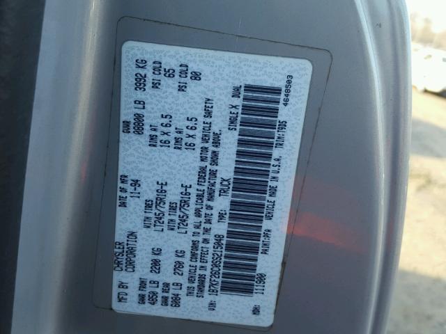 1B7KF26C0SS215048 - 1995 DODGE RAM 2500 SILVER photo 9