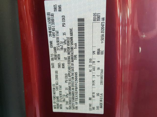 1FTEX1EP8FFC56695 - 2015 FORD F150 SUPER RED photo 10