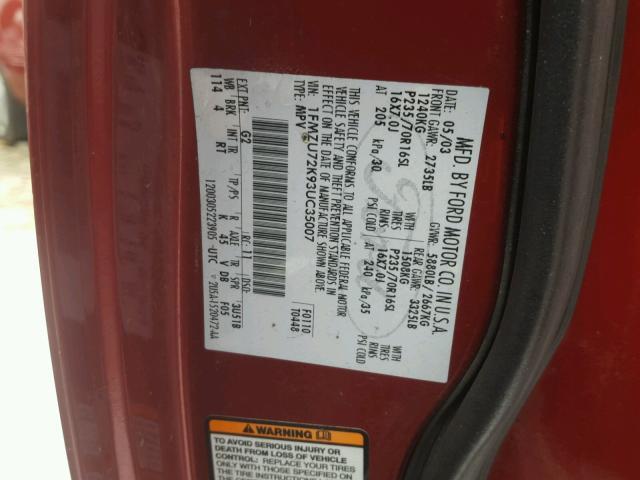 1FMZU72K93UC35007 - 2003 FORD EXPLORER X RED photo 10