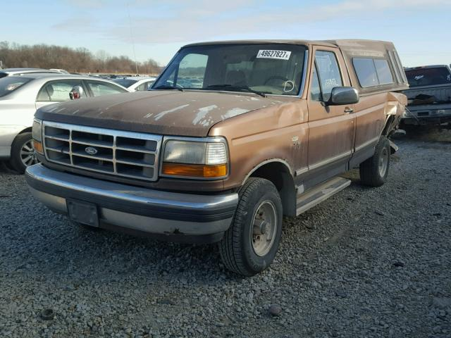 1FTEF14N6NLA50066 - 1992 FORD F150 BROWN photo 2