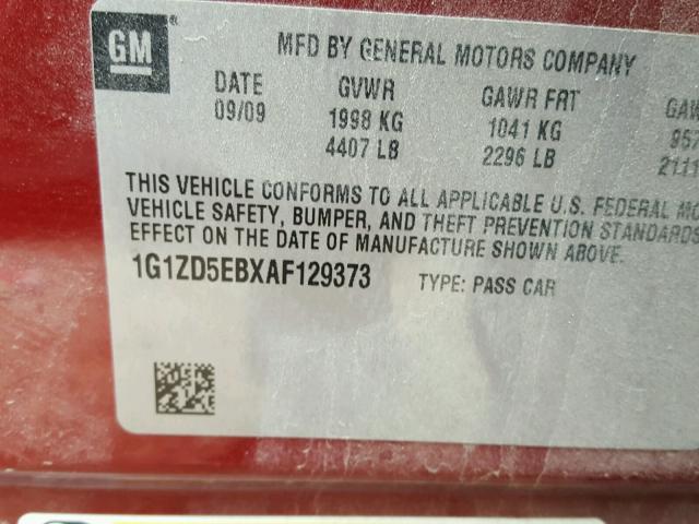 1G1ZD5EBXAF129373 - 2010 CHEVROLET MALIBU 2LT RED photo 10