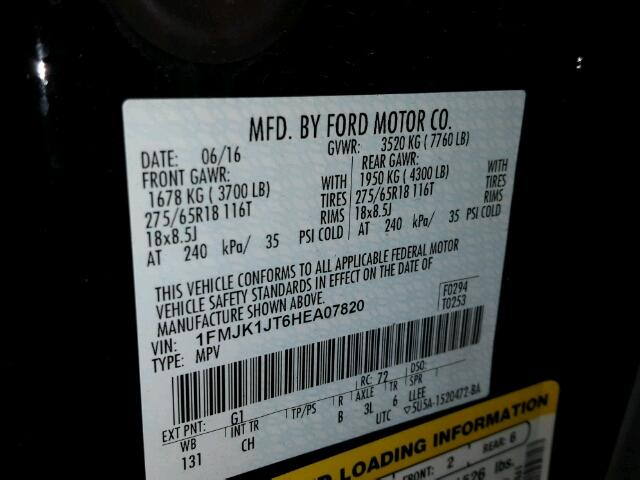 1FMJK1JT6HEA07820 - 2017 FORD EXPEDITION BLACK photo 10