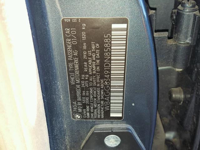 WBAGG83491DN85885 - 2001 BMW 740 I AUTO WHITE photo 10