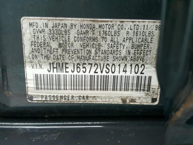 JHMEJ6572VS014102 - 1997 HONDA CIVIC LX GREEN photo 10