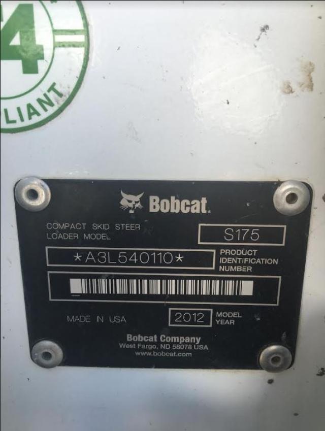 A3L540110 - 2012 BOBCAT S175 WHITE photo 10