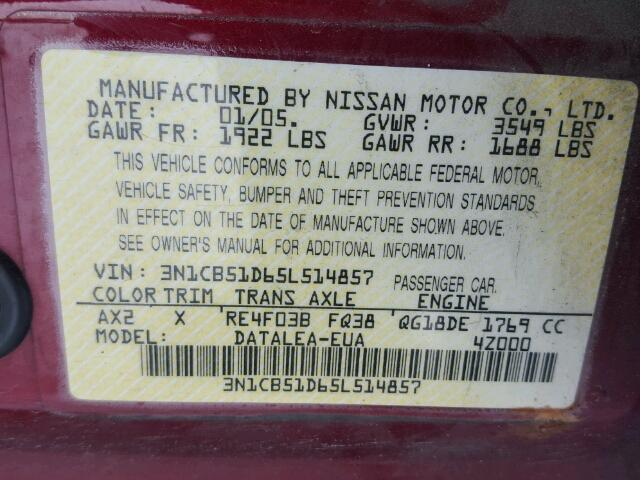 3N1CB51D65L514857 - 2005 NISSAN SENTRA 1.8 RED photo 10
