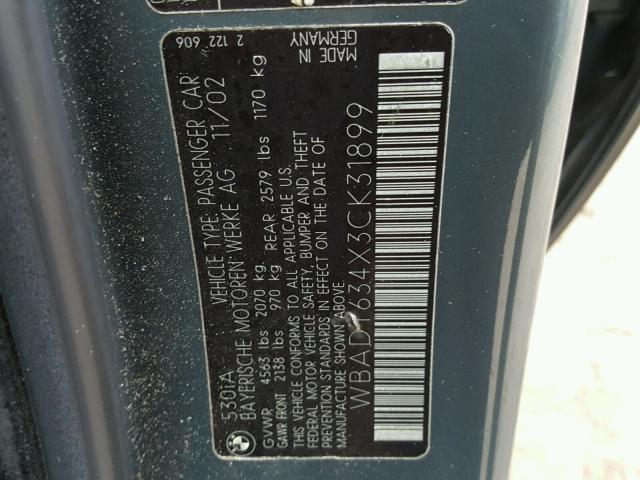 WBADT634X3CK31899 - 2003 BMW 530 I AUTO BLUE photo 10