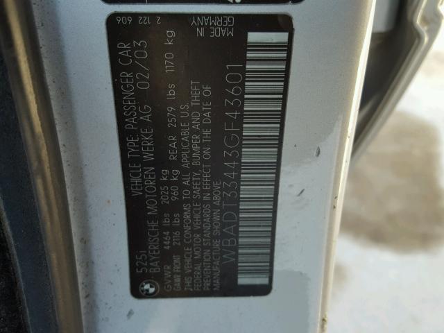 WBADT33443GF43601 - 2003 BMW 525 I SILVER photo 10