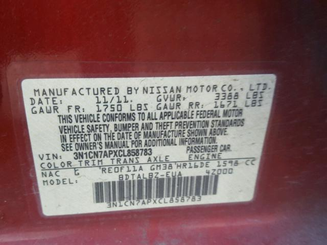 3N1CN7APXCL858783 - 2012 NISSAN VERSA S RED photo 10
