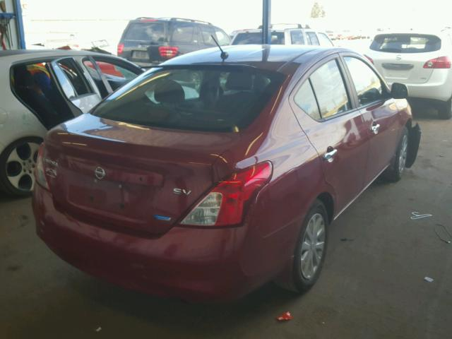 3N1CN7APXCL858783 - 2012 NISSAN VERSA S RED photo 4