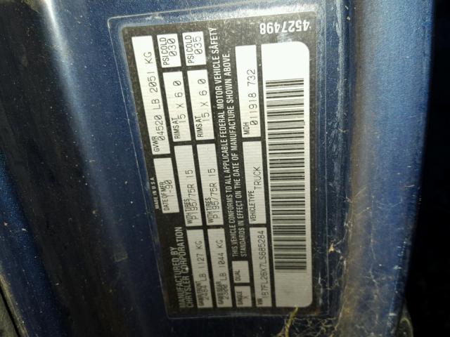 1B7FL26X7LS685284 - 1990 DODGE DAKOTA BLUE photo 10