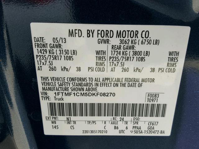 1FTMF1CM5DKF08270 - 2013 FORD F150 BLUE photo 10