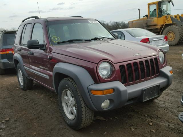 1J4GL48K43W562479 - 2003 JEEP LIBERTY SP MAROON photo 1