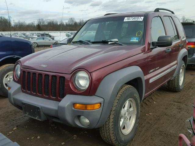 1J4GL48K43W562479 - 2003 JEEP LIBERTY SP MAROON photo 2