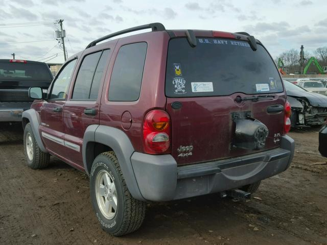1J4GL48K43W562479 - 2003 JEEP LIBERTY SP MAROON photo 3