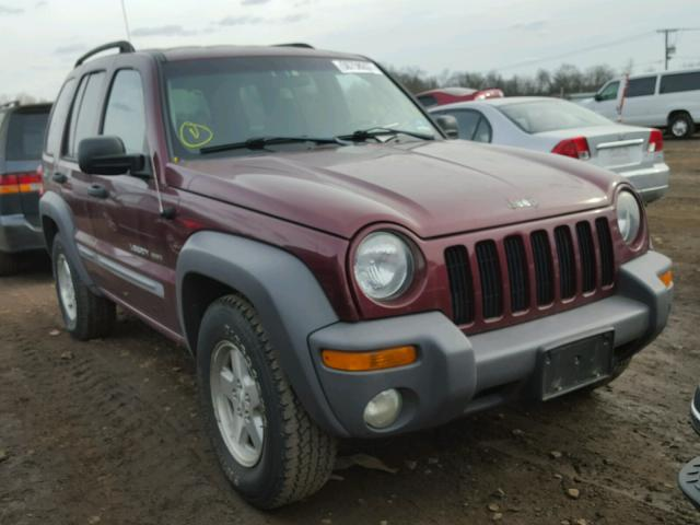 1J4GL48K43W562479 - 2003 JEEP LIBERTY SP MAROON photo 9
